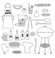 barbecue cookout supplies black outline vector image vector image