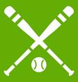 baseball bat and ball icon green vector image vector image