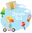 border design with girl on bike vector image vector image