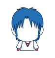 boy anime male manga cartoon comic blue hair vector image vector image