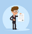 businessman or manager holding a contract or vector image vector image