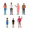 cartoon characters people african american set vector image vector image