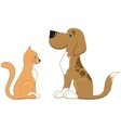 Cat and dog look at each other the best friends vector image vector image