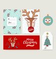 Christmas card template holiday deer cartoon set