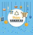 circle emblem to happy hanukkah celebration vector image