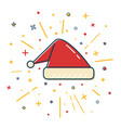 colored santa hat icon in thin line style vector image vector image