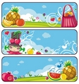colorful fruit banners vector image vector image