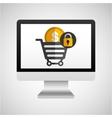 computer protection money coin icon design vector image vector image