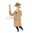 detective agent man on investigation vector image vector image