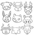 doodle of head animal hand draw vector image vector image