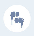 earbud headphones icon on white vector image