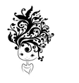 Female head silhouette floral hairstyle for your vector image