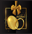 golden eggs on the isolated black background vector image vector image