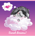 greeting card with a cartoon hedgehog on the cloud vector image