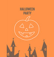 halloween pumpkin festival postcard with linear vector image