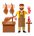 jamon butcher shop flat style colorful vector image