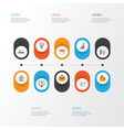 job flat icons set collection of billfold vector image vector image