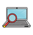 laptop computer with magnifying glass vector image