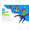 man teenager and woman runner cross finish vector image