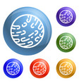 mars planet icons set vector image vector image