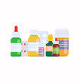 medical pills and bottles medical concept flat vector image
