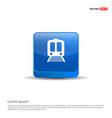railroad track icon - 3d blue button vector image