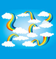 rainbow icon set with clouds vector image vector image