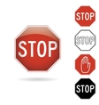 Red and black stop signs vector image