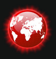 red planet earth and world map colorful light vector image vector image