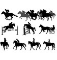 riding horses silhouettes set equestrian sport vector image vector image