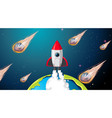 rocket and asteroid scene vector image vector image