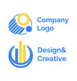 round label with columns company logo vector image