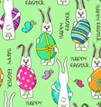 Seamless pattern of bunny rabbits holding Easter vector image