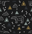 seamless tribal pattern with low poly polar bears vector image
