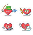 set of heart character with fishing student gamer vector image vector image