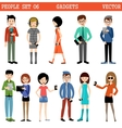Set of people with gadgets vector image