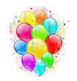 Set party balloons and confetti on white vector image vector image