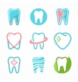 set tooth logo design template dental logo vector image vector image