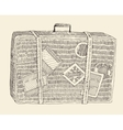 Suitcase Luggage Engraved Retro Hand Drawn Sketch vector image
