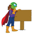 superhero hammering a sign post to the ground vector image
