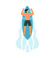 surfer boy ride a surfboard surfing on wave vector image