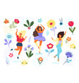 template with happy women and flowers vector image vector image