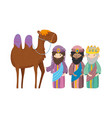 Three wise kings and camel manger nativity merry