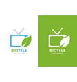 tv and leaf logo combination unique media vector image vector image