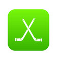 two crossed hockey sticks icon green vector image vector image