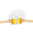 two mugs beer in hands with a lot foam vector image vector image