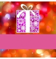 White gift with bokeh card EPS 8 vector image vector image