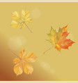 with falling autumn leaves on a gold background vector image vector image