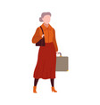 woman in airport modern female character waits vector image vector image