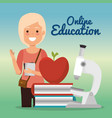 young woman with education online supplies vector image vector image